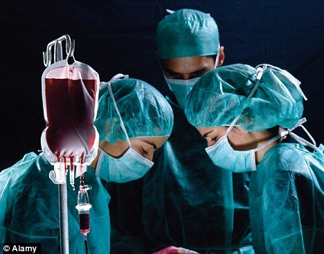 Breakthrough: Artificial Blood Made From Stem Cells Could Be Used In Transfusions In Just Two Years  Britons could be injected with artificial blood within just two years. The blood – made from stem cells – would transform blood transfusions by preventing shortages in hospitals and prove a lifesaver on battlefields and at the scene of car crashes.  The manmade blood would carry a much lower risk of infection than the real thing and could be given to almost everyone regardless of their blood group.  The hope comes from Edinburgh University researchers who are turning stem cells, 'master cells' widely seen as a repair kit for the body, into red blood cells. They have already worked out how to make thousands of millions of red blood cells from stem cells taken from adults' bone marrow.  This may seem like a lot, but with the average blood transfusion containing 2.5million million red blood cells, it just isn't enough. Cells taken from human embryos in the first days of life are easier to multiply in large numbers but the researchers have so far not managed to make such realistic blood from them.  Other possibilities include turning slivers of skin into red blood cells, the cells key to the passage of oxygen around the body, said researcher Marc Turner. He hopes to make a supply of cells with the O-negative blood type.  This 'universal donor' blood could be given to up to 98 per cent of the population.