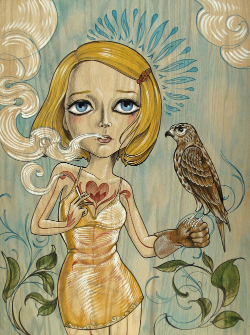 spokeart:  Here's a look at the beautiful new painting of Margot Tenenbaum by artist @Sandi Calistro, debuting this weekend at Spoke Art's Wes Anderson art show tribute.