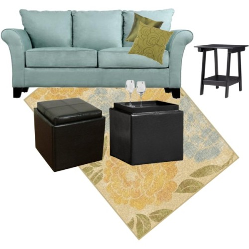Living Room #1 by juliayork on polyvore.com Target:Peony Garden Rug - French Vanilla, $180Target:Storage Ottoman with Tray - BlackTarget:Storage Ottoman with Tray - Black, $70Target:- Green Decrtv Velvet Swirls Squr Toss Pilw - 16…., $20Target:Madison Accent End Table, $56 Sofa is Provant Flared-arm Sky Blue Microfiber, $492.99 on Overstock
