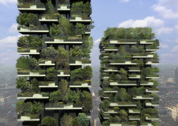 Milan, Italy A concept picture of the world's first forest in the sky, the Bosco Verticale green twin towers currently under construction. The world's first forest in the sky will have trees tree equal to one hectare of forest spanning 27 floors. These 365 and 260 foot emerald twin towers will be home to 730 trees, 5,000 shrubs and 11,000 ground cover plants. The towers, which are still under construction, are the brainchild of architect Stefano Boeri. (via Telegraph)