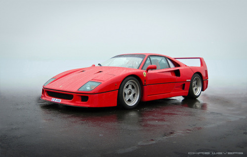 Foggy weather but clearly a supercar. Ferrari F40. Photo by Chris Wevers.