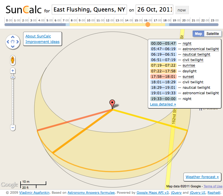 metrogarden:  cool online utility/app to visualize the sun's trajectory in any day/time (past, present and future) and at any location of your choosing using google maps, via suncalc.net.  SunCalc is a little app that shows sun movement and sunlight phases during the given day at the given location. You can see sun positions at sunrise, specified time and sunset.  The thin orange curve is the current sun trajectory, and the yellow  area around is the variation of sun trajectories during the year. The  closer a point is to the center, the higher is the sun above the  horizon. The colors on the time slider above show sunlight coverage  during the day. Please leave your ideas about improving SunCalc or vote for them here, and follow @suncalc_net for updates. Brought to you by Vladimir Agafonkin in pure JavaScript goodness. Enjoy!  it's giving me a good idea where the sun will be during the winter months, so i can plan the location of the hoop houses accordingly.