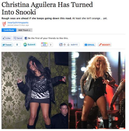 Christina Aguilera has turned into Snooki #Random