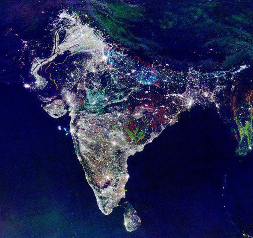 SHUBHO DIWALI! SHUBHO KALI/LAKSHMI PUJA = ) NASA Satellite captures the energy of Diwali, the festival of lights, as celebrations begin. How stunning?  Much light, love and blessings. <3(via designyoutrust.com)