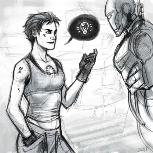 balphesian:  Female!Tony & Iron Woman suit for a warmup sketch.