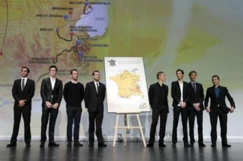 The presentation of the tour de France 2012 route. Alberto, Pierre Rolland, Mark, Cadel, Philippe Gilbert, Fränk, Andy and Thomas Voeckler.