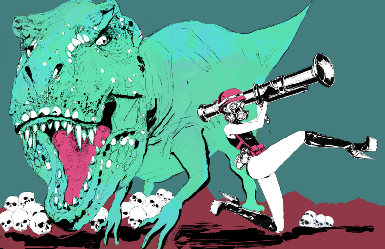 …an old illo about dinosaurs we had to do in sophomore year i tried to combine dinosaurs and fashion illustration loll