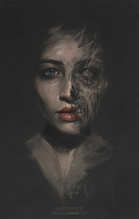 Beauty/Decay Study - by Sam Spratt This was a test I did with the female portrait contest winner to mentally differentiate opposite states of beauty/decay and ultimately assist to strike a balance when I painted the real portrait. When I do preliminary work (which is rare)—it's almost always to try to understand something—rather than to create a rough draft. My Other Zombie Paintings: Vanity (Female Portrait Contest Winner) Like Father Like Son Rebecca Black - Which Brain Should I Take? Connect with my: portfolio website,  tumblr,  facebook artist's page and twitter.