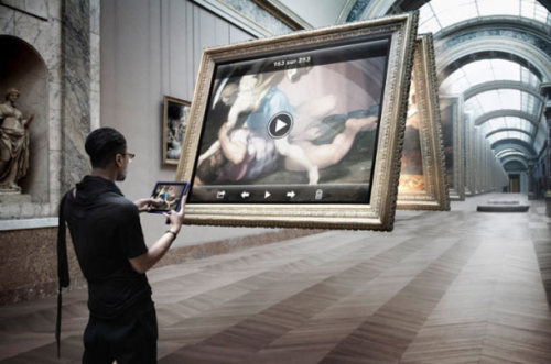 stufffactory:  Transforming the LOUVRE: « Art Game » is a retouched photo project signed by Leo Caillard & Antoine Mairot. They are using with humor the apple navigation system and all apple products.  Source Golem13