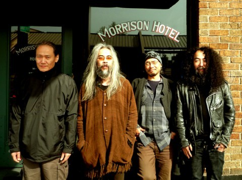 Acid Mother's Temple in front of the Morrison Hotel. This picture is pure brilliance.