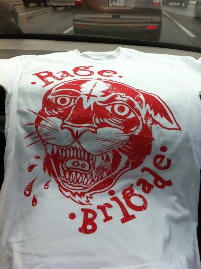 Rage Brigade shirts are made! If youre in the Toronto area, go check 'em out at the Poor Alex Theatre on Dundas with Trapped Under Ice, Back Track, Take Offense, Hundreth and Betrayal! These shirts will be available. http://ragebrigade.bandcamp.com/