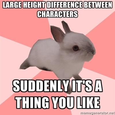 fuckyeahroleplayshipperbunny:  I didn't realize I really liked big height differences between characters until I, you know, played it out and drew it a dozen times. Then it became unreasonably attractive/cute/whatever your adjective.