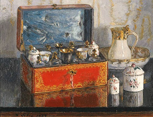 Maurice Lobre Red Lacquer Box 1937