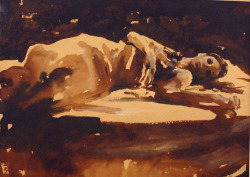 Natalie Reclining by Mark Demsteader, ink on paper