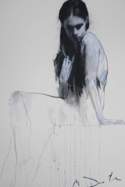 Kate Seated by Mark Demsteader, Pastel & collage