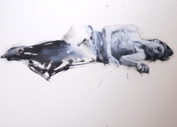 Natalie reclining 2, oil on board