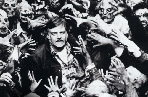 George A. Romero with his cast of zombies in Night of the Living Dead