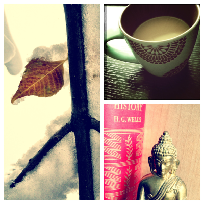 My day today. Photography, snow, coffee and some books and a fire.