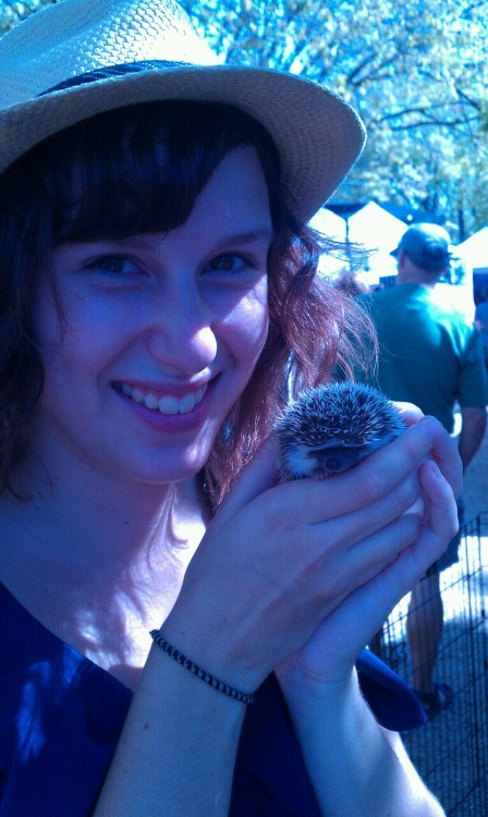 They had a mini petting zoo at the Hope Farmers Market in East Austin last Sunday. Baby bunnies, a bearded dragon, and this little African Pygmy Hedgehog. I'll be there this weekend for free range eggs, local veges, and to play with this guy again.  Check out Hope Farmers Market every Sunday 11am-3pm on E. 5th & Waller.  http://hopefarmersmarket.org/