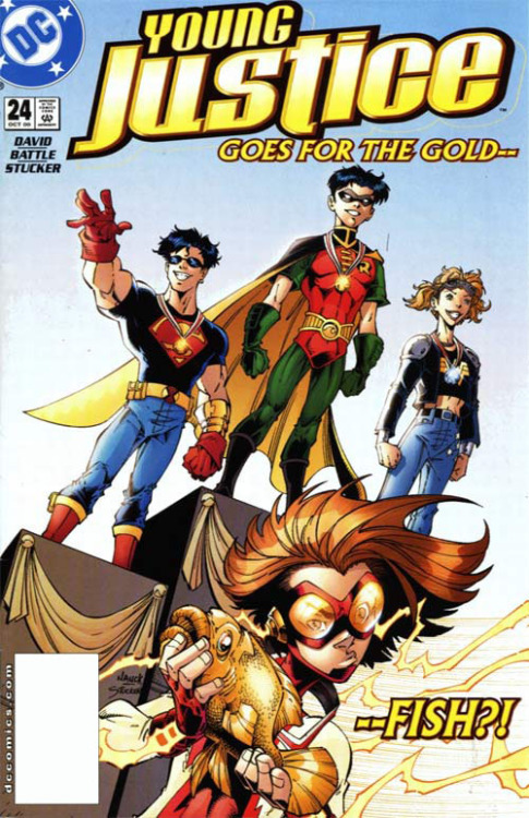 [Young Justice Vol 1 #24] Bart's grand tradition of trolling cover pages is one of my favorite things about Young Justice. Also, for those of you keeping track in your playbook, Timmy got the gold, Cassie the silver and Kon the bronze in their imaginary cover event. Good for you, Tim! Also, this era of Kon's fashion sense and general attitude is my favorite. Nice glasses, superdude.  In conclusion, GOLD— —FISH?!