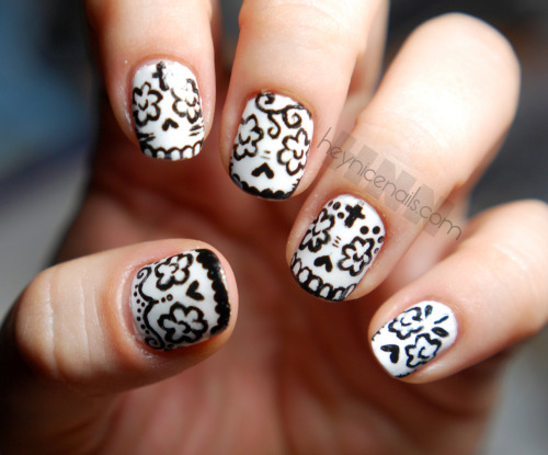 heynicenails:  my version of calavera nails - So Cute! the black and white are both by Sinful Colors.
