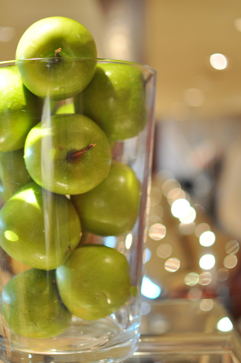 green apples and bokeh