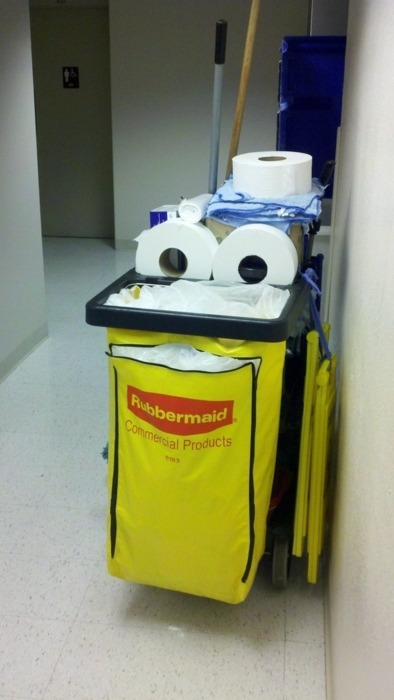 Happy cleaning cart is happy.