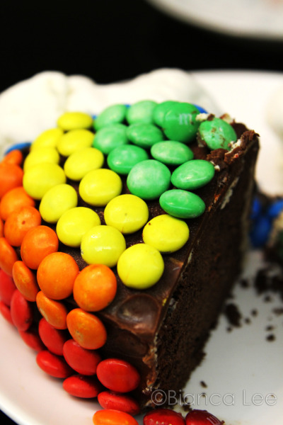 candyexpress:  chocolate malt rainbow cake by bakingexplosion, recipe included