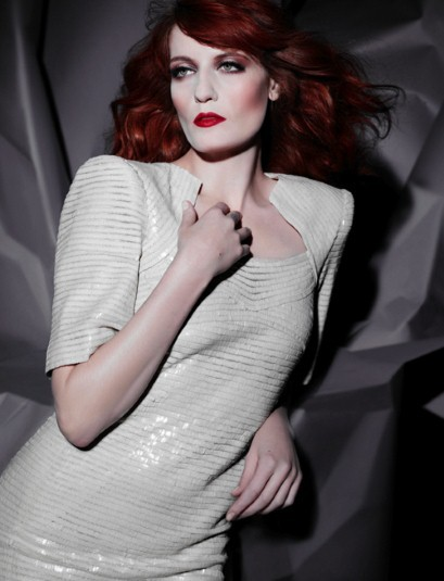 "Florence and the Machine singer Florence Welch was photographed by Chanel creative director, Karl Lagerfeld // This is the the limited-edition vinyl cover of the band's new single, ""Shake it Out"" //"