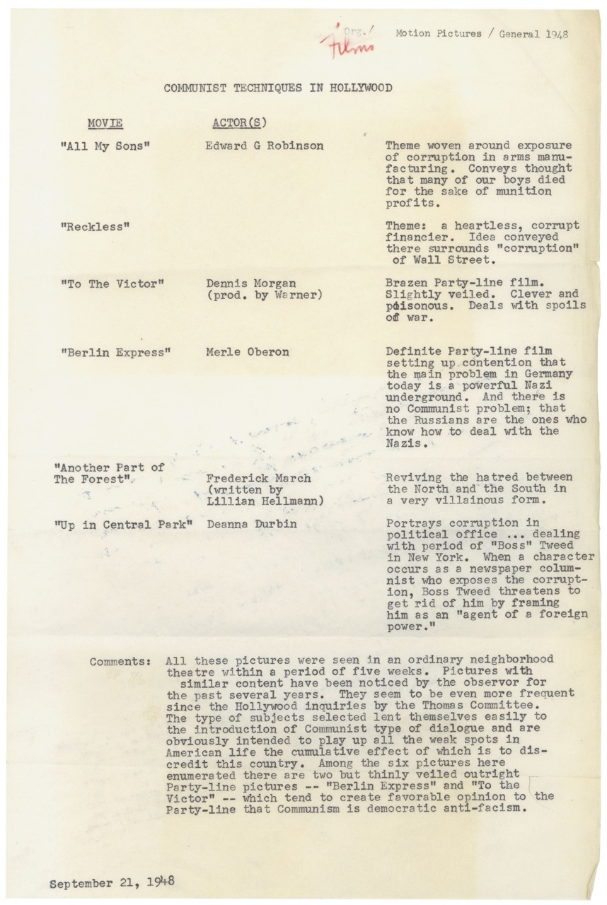"Sixty-four years ago today, Hollywood screenwriter John Howard Lawson testified before the  House Un-American Activities Committee (HUAC). In May of 1947, HUAC held a series of closed-door hearings to investigate communist influence in Hollywood. A number of famous Hollywood screenwriters, directors, and producers were subpoenaed to Washington in September. Only eleven were asked to appear before the committee in October. Ten of the eleven were card-holding members of the communist party at one point in their careers. Lawson was the first of  the infamous Hollywood Ten to testify. The group refused to answer questions relating to their political beliefs, citing their First Amendment rights. All of the men were eventually convicted of contempt of Congress, and blacklisted in Hollywood. Today's featured document was created almost a year after the  Hollywood Ten investigation began. It shows that the committee was still  monitoring the motion picture industry, and signifies that they believed that communist beliefs  continued to infiltrate the industry. It also suggests that the Hollywood  Ten investigation did not prevent the creation of ""un-American""  movies. Thus, HUAC continued to investigate communist techniques in  Hollywood through 1952. The anti-communist movement in Congress reached  its peak in 1954, but HUAC lived on. The committee changed its name in 1969 to  the House Committee on Internal Security, and was eventually abolished  in 1975. Communist Techniques in Hollywood, 9/21/1948, Records of the U.S. House of Representatives"