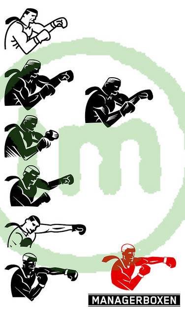 icon development for managerboxen.at logo. for a sportsclub using boxing techniques and routines for mental and fitness exercises. i pasted together the steps from my first propositions to the final stage. while i began with a very bulky boxer type it required a slimmer lean guy with a straighten arm to add dynamics.   client : hofegger and partners. ©tom mackinger 2011