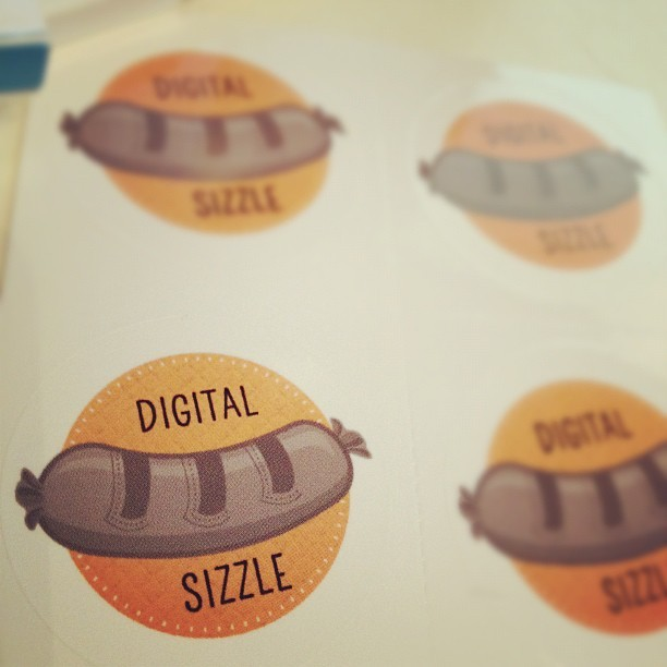 My @Digital_Sizzle stickers just arrived from @overheardatmoo - commence guerrilla marketing! (Taken with instagram)