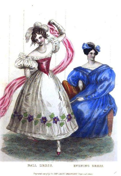 Lady's Magazine, Ball and Evening Dress, August 1830.  The ball dress almost looks like a costume.