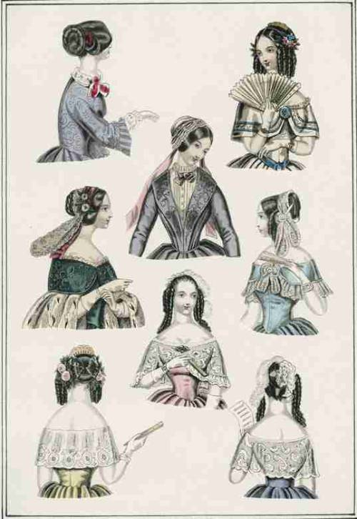 World of Fashion, January 1847.  I love the blue and white one on the top right!