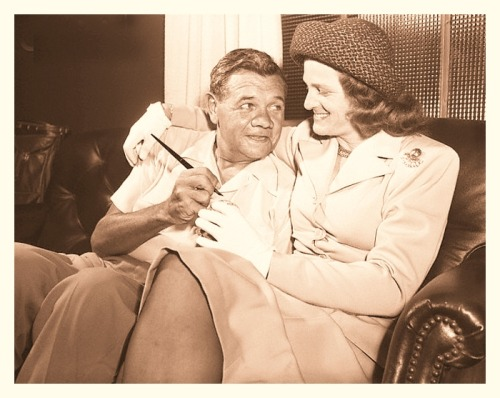 Two Babes - Babe Ruth & Babe Didrikson Zaharias - 1947 The greatest baseball player ever signs an autograph for the person most folks still feel is the greatest woman athlete ever.