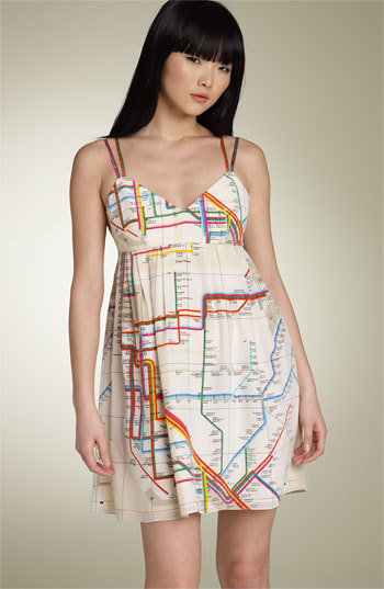 (via francis™ Subway Map Print Silk Dress | Nordstrom) A vintage NYC subway map dress. Would you wear it?