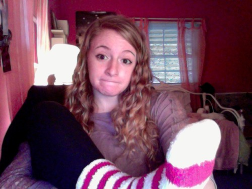 Wearing the coziest socks on the rainiest day.