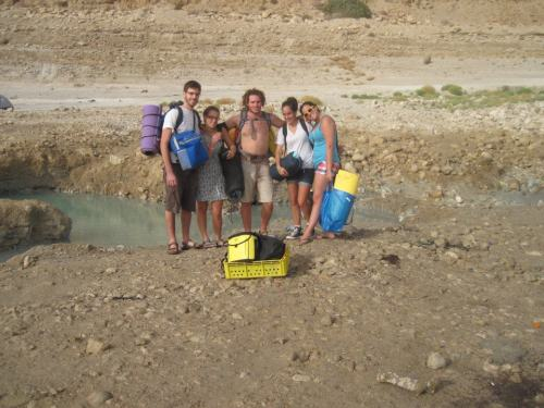 Last weekend I went with some new friends on a trip to the Dead Sea…. they are Israelis and really awesome guys!  One of them is training to be a tour guide so we were his guinea pigs :)  We arrived at the Sea in the early evening… we were right next to hot springs and by the Sea… we grilled chicken and food and then played with mud in the hot springs all night!  It was so incredible.  We slept under the stars and were awoken by the most beautiful sunrise I have ever seen…  Then we hiked to some fresh water springs that were AMAZING!!!  Needless to say, it was an amazing weekend with wonderful new friends :)