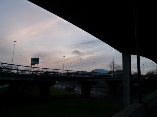 Hendon Way Flyover on Flickr.The last photo I took in London was under a flyover at dusk.