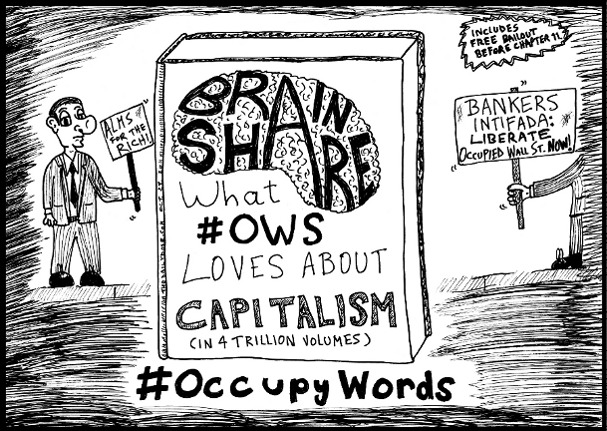 Book You Never Read > Brain Share > What #OWS Loves about Capitalism - editorial cartoon and top ten #OccupyWords jokes by laughzilla for the daily dose.