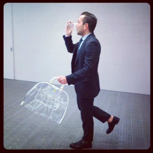 annabeltollman:  @mrlangbein with a clear plastic murse by Emporio Armani. Terribly useful for carrying sandwiches. (Taken with instagram) EXCUSE ME FOFFY….ARE YOU WEARING O'KEEFFE SINGLE MONKS?  IF NOT…WHY NOT?