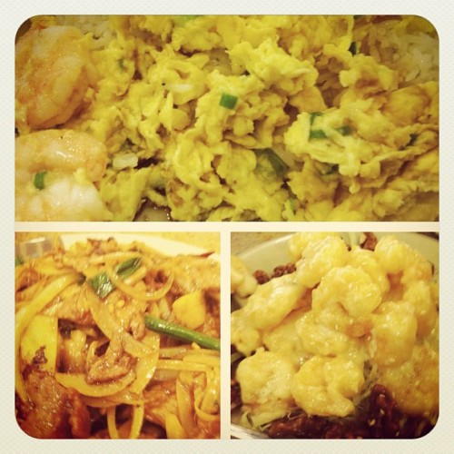 Walnut shrimp, scramble egg shrimp and mongolian beef #food #foodporn #yum (Taken with Instagram at Sam Woo)