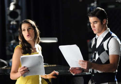"Rachel (Lea Michele, L) and Blaine (Darren Criss, R) rehearse for their performance in West Side Story in ""The First Time"""