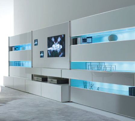 Monos modular wall system / stunning contemporary wall unit by MisuraEmme Broad expanses of reflective glass create the sleek and futuristic look of the wall unit, hiding and revealing items as you please. Being a modular system, the wall unit is flexible and easily adapted to your specific needs. I am in love with modular systems; it allows for cutting-edge style, creativity, and loads of storage. *Swoons*