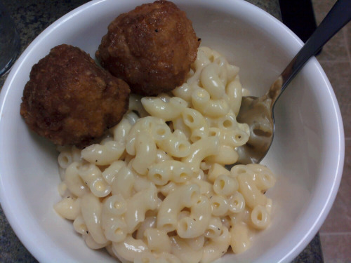 Home made macaroni with Tyson's any'tizers honey bbq boneless chicken bites.