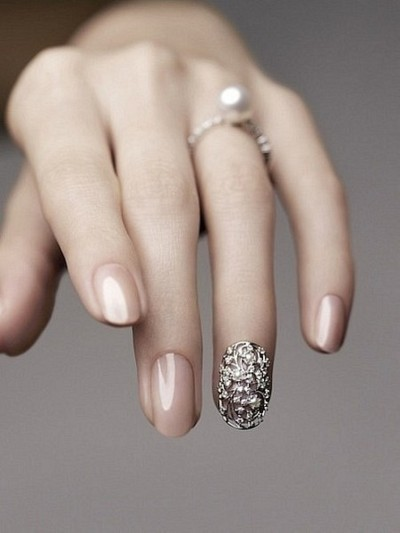 Amazing Wedding Day Manicure. Love it! The pearl ring looks stunning.