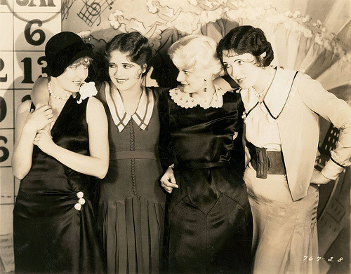 Jean Arthur, Clara Bow, Jean Harlow and Leone Lane, photographed by Eugene Robert Richee, 1929 (via Chickeyonthego)