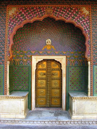 Doors to a palace in Jaipur, India (by CrittersWorldTour)