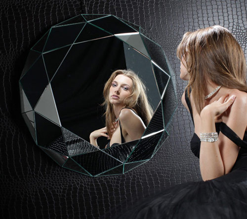 """Mirror, mirror on the wall…""  Diamante wall mirror / Regia Dramatic, sophisticated and reflective. It is beautifully cut, the clarity of its design is flawless and it is colorless with a gigantic carat value - all the good qualities of a diamond."