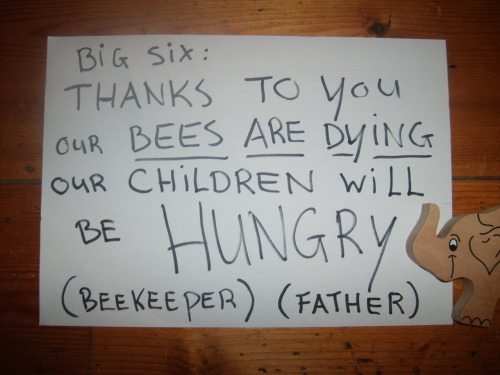 Hey Big 6. I am a beekeeper and a father. I try to stay out off your toxic treadmill but it´s very hard. Our bees pick up all the stuff you produce in small amounds. But even the smallest amound is affecting our bees. In Holland your pesticides are sold allmost everywhere. Customers buy it and they use it thinking it´s safe because you failed to tell them what they just used in their gardens. Therefore: Holland turns out to be one of the countries where beecolonies dy in an scary tempo. (about 26 percent each year) How about that?! I can feed my children safe food. I can tell them about your deadly chemicals. (and they ARE KILLERS, you know better then I.   But: I can not protect our bees. Me, my wife and my children: We do want our food system back!